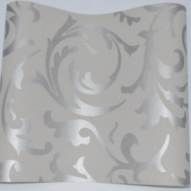 Wallpaper Dinding Motif Floral Classic European Style - Silver