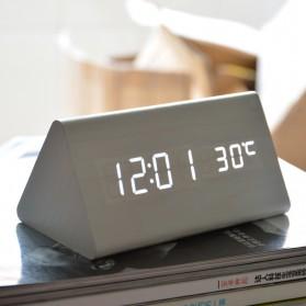 Jam Alarm LED Wood Thermometer Sensor Suara - 909 - Black - 2