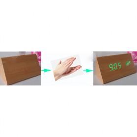 Jam Alarm LED Wood Thermometer Sensor Suara - 909 - Black - 3