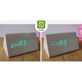 Jam Alarm LED Wood Thermometer Sensor Suara - 909 - Black - 5