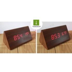 Jam Alarm LED Wood Thermometer Sensor Suara - 909 - Black - 6