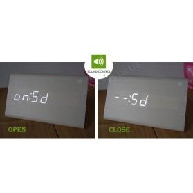 Jam Alarm LED Wood Thermometer Sensor Suara - 909 - Black - 7