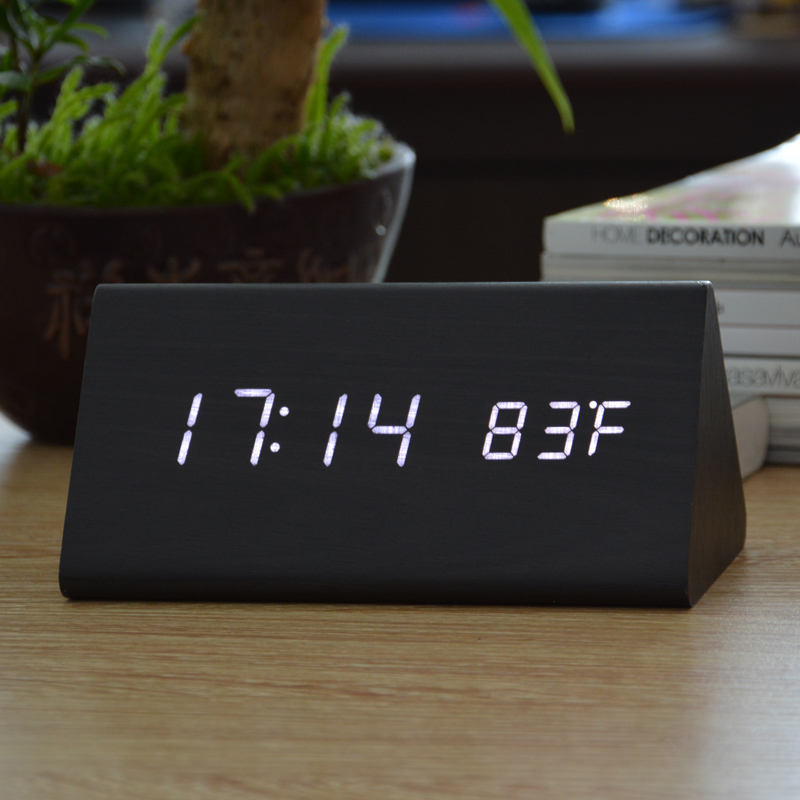 Jam Alarm LED Wood Thermometer Sensor Suara - 909 - Black ...