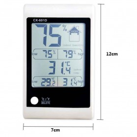 LED Weather Station Digital Thermometer + Hygrometer - CX-601D - White - 3