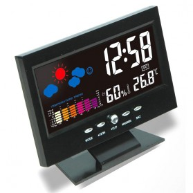 Jam Alarm LED Thermometer Hygrometer Weather Station - 8082 - Black