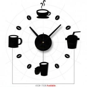 Taffware Jam Dinding DIY Giant Wall Clock Quartz Creative Design Model Kopi Cafe - DIY-07 - Black - 2