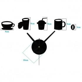 Taffware Jam Dinding DIY Giant Wall Clock Quartz Creative Design Model Kopi Cafe - DIY-07 - Black - 3