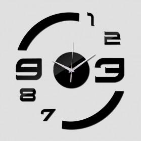 Taffware Jam Dinding DIY Giant Wall Clock Quartz Creative Design Model Acrylic Mirror Big Number - DIY-13 - Black