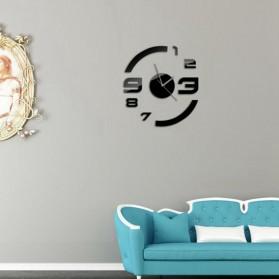 Taffware Jam Dinding DIY Giant Wall Clock Quartz Creative Design Model Acrylic Mirror Big Number - DIY-13 - Black - 3
