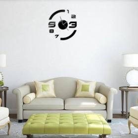 Taffware Jam Dinding DIY Giant Wall Clock Quartz Creative Design Model Acrylic Mirror Big Number - DIY-13 - Black - 4