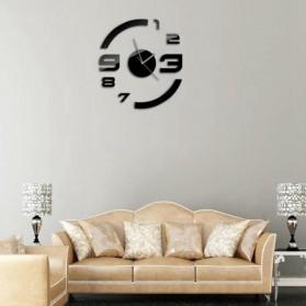Taffware Jam Dinding DIY Giant Wall Clock Quartz Creative Design Model Acrylic Mirror Big Number - DIY-13 - Black - 5