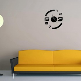 Taffware Jam Dinding DIY Giant Wall Clock Quartz Creative Design Model Acrylic Mirror Big Number - DIY-13 - Black - 7