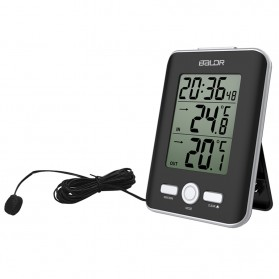 Jam Dinding & Jam Alarm - BALDR Jam Alarm LED Thermometer Weather Station with Probe - Black