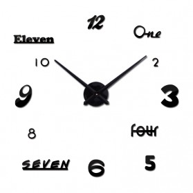 Jam Dinding DIY Giant Wall Clock Quartz Creative Design Acrylic Huruf dan Angka - DIY-02 - Black