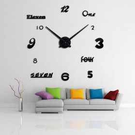 Jam Dinding DIY Giant Wall Clock Quartz Creative Design Acrylic Huruf dan Angka - DIY-02 - Black - 2