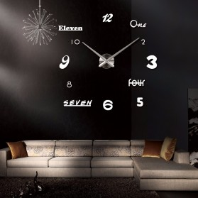 Jam Dinding DIY Giant Wall Clock Quartz Creative Design Acrylic Huruf dan Angka - DIY-02 - Black - 4