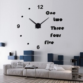 Jam Dinding Besar DIY Giant Wall Clock Quartz Creative Design Aryclic Underline dan Angka - DIY-201 - Black
