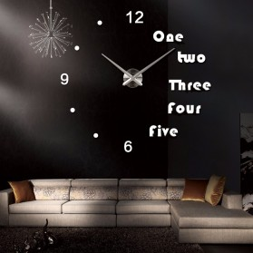 Jam Dinding Besar DIY Giant Wall Clock Quartz Creative Design Aryclic Underline dan Angka - DIY-201 - Black - 2