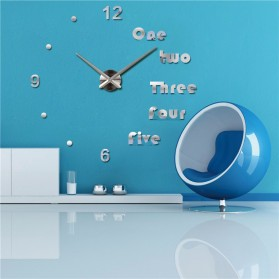 Jam Dinding Besar DIY Giant Wall Clock Quartz Creative Design Aryclic Underline dan Angka - DIY-201 - Black - 3