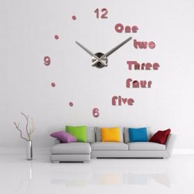 Jam Dinding Besar DIY Giant Wall Clock Quartz Creative Design Aryclic Underline dan Angka - DIY-201 - Black - 4