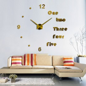 Jam Dinding Besar DIY Giant Wall Clock Quartz Creative Design Aryclic Underline dan Angka - DIY-201 - Black - 5