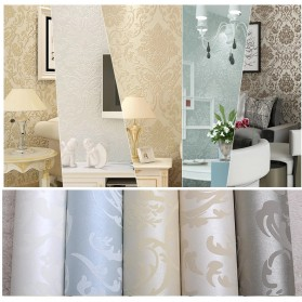 Wallpaper Dinding Glossy Modern European Style - Beige - 7