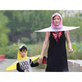 Topi Payung UFO Handsfree Umbrella Rain Cap Size S - Yellow - 3