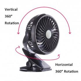Kipas Angin Portable Rechargeable 360 Derajat dengan Klip - XH-09 - Black - 3