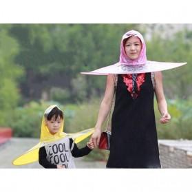 Topi Payung UFO Handsfree Umbrella Rain Cap Size M - Yellow - 3