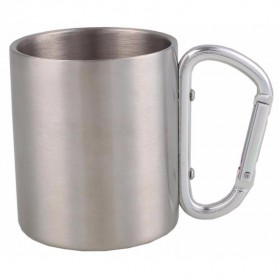Lixada Gelas Mug Stainless Steel Gagang Carabiner 200ml - BW2505035 - Silver