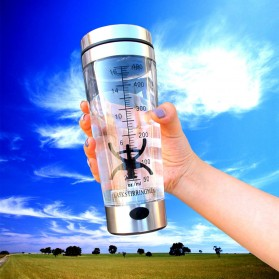 Botol Minum Protein Electric Shaker Portable Otomatis 450ml - 1505 - Transparent