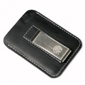 Dompet Kartu dengan Money Clip / Besi Penjepit Uang - Black