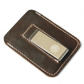 Xiniu Dompet Kartu dengan Money Clip / Besi Penjepit Uang - F23 - Coffee