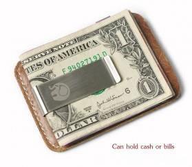 Xiniu Dompet Kartu dengan Money Clip / Besi Penjepit Uang - F23 - Coffee - 3