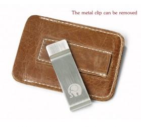 Xiniu Dompet Kartu dengan Money Clip / Besi Penjepit Uang - F23 - Coffee - 4