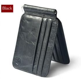 Dompet Kartu Kulit dengan Money Clip / Besi Penjepit Uang - Black