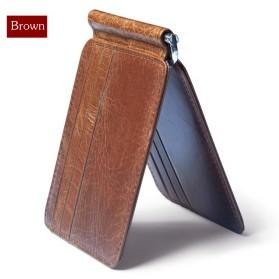 Dompet Kartu Kulit dengan Money Clip / Besi Penjepit Uang - Brown