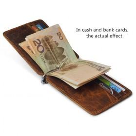 Dompet Kartu Kulit dengan Money Clip / Besi Penjepit Uang - Brown - 2