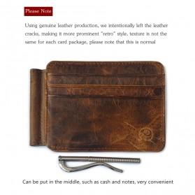 Dompet Kartu Kulit dengan Money Clip / Besi Penjepit Uang - Brown - 3