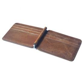 Dompet Kartu Kulit dengan Money Clip / Besi Penjepit Uang - Brown - 4