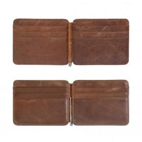 Dompet Kartu Kulit dengan Money Clip / Besi Penjepit Uang - Brown - 5