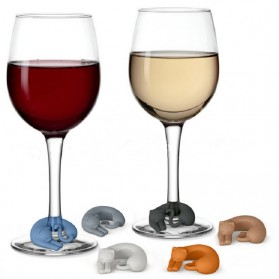 Silikon Label Gelas Wine Party Recognizer Model Kucing 6 PCS - Mix Color