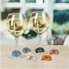 Silikon Label Gelas Wine Party Recognizer Model Kucing 6 PCS - Mix Color - 3