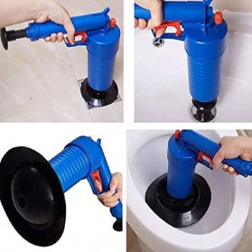 Auger Pompa Sedot Saluran WC Westafel Ledeng High Pressure Air Drain Plunger - JJ63010 - Blue - 3