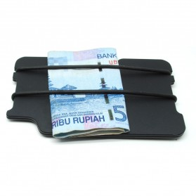 Dompet Kartu Money Clip Carbon Fiber 2 Layer - Black - 2