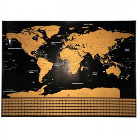 Wu Fang Poster Scratch Map Peta Dunia Versi National Flag - ZJP-M018 - Black