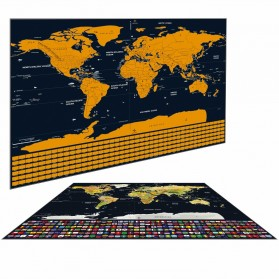 Wu Fang Poster Scratch Map Peta Dunia Versi National Flag - ZJP-M018 - Black - 6
