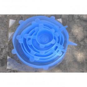 Penutup Panci Mangkuk Gelas Silicone Lid 6 PCS - HWH238 - Blue - 6
