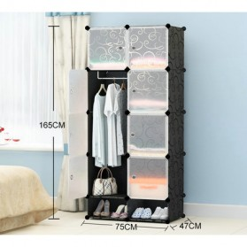 Magic Wardrobe Lemari Baju Plastik DIY 8 Pintu - Black