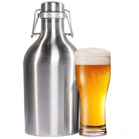 Botol Minum Bir Stainless Steel Beer Hip Flask 64oz - Silver